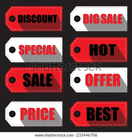price tag labels and stickers - stock vector