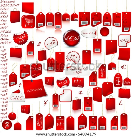 Price Tag Set VECTOR isolated on white - stock vector