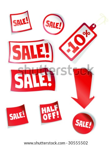 Price Tags and Stickers - Vector Illustration - stock vector