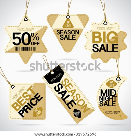 Price tags design with best discount offers, special price, Template background, Black and gold color, Vector EPS10.Vector EPS10.  - stock vector