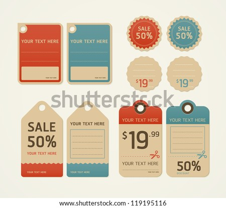 Price tags retro color design, vector illustration. - stock vector