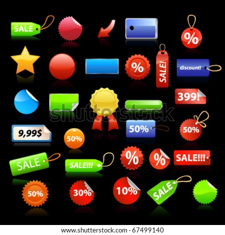 Price tags set on black background. Vector - stock vector