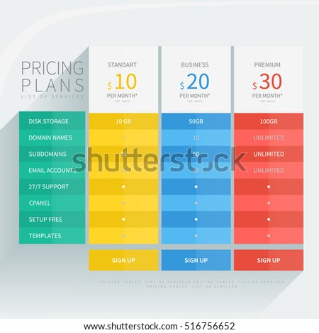 Pricing Comparison Table Set For Commercial Business Web Services And  Applications. Design Element Interface For  Comparison Grid Template