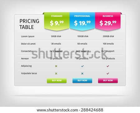 pricing table template business plan comparison stock vector 288424688 shutterstock