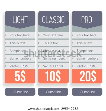 Pricing table template in vector - stock vector