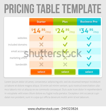 Pricing Table Template. Three Plan Type �¢?? Starter, Plus and Business Pro. Three offers on grey background - stock vector