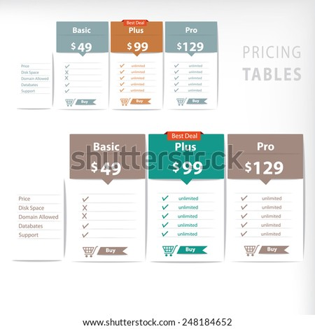 Pricing table vector design template - stock vector