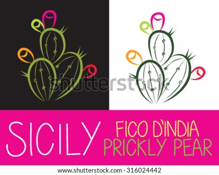 Prickly pear stylized plant - stock vector