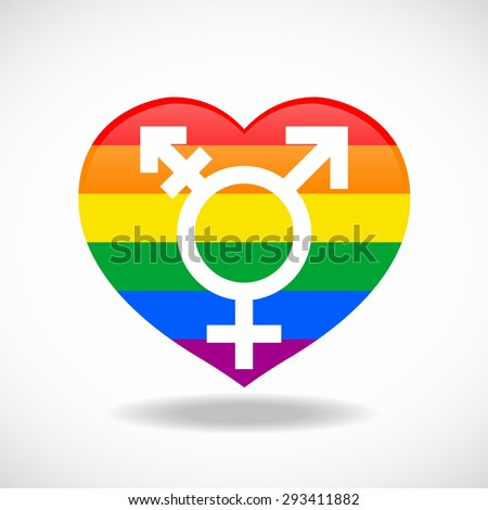Pride flags heart signs and sex sign vector design - stock vector