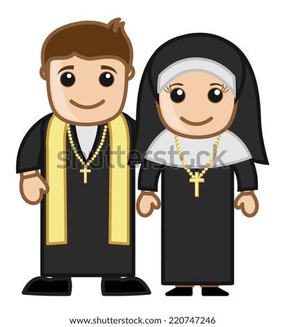 Priest and Nun - Vector Character Cartoon Illustration - stock vector