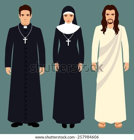 priest, nun and jesus christ, catholic religion illustration - stock vector
