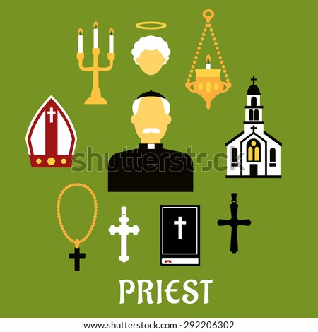 Priest profession flat concept with catholic priest in black robe, clerical collar and zucchetto encircled by church building, crosses, bible, mitre, candelabras and angel silhouette - stock vector