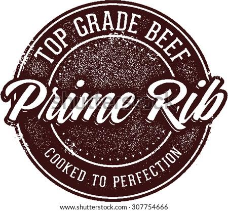 Prime Rib Steak Menu Stamp - stock vector