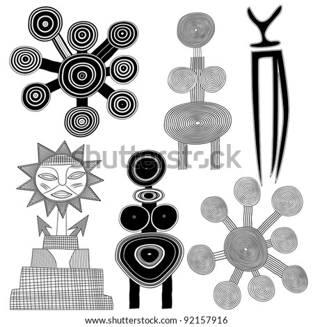 primitive art - cave painting - vector - stock vector