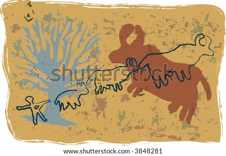 Primitive, rock-art style vector illustration of ox hunt. - stock vector
