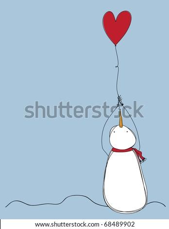 Primitive Snowman holding balloon - stock vector