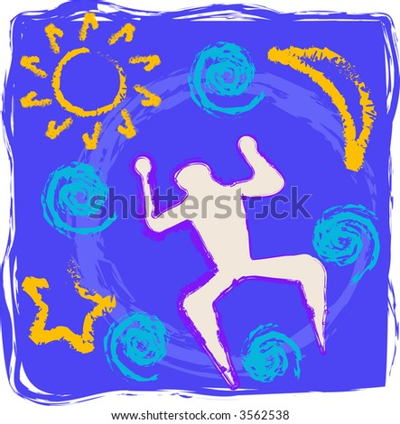Primitive style drawing of cosmos in vector format. - stock vector