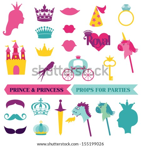 Prince and Princess Party set - photobooth props - crown, mustaches, masks - in vector - stock vector