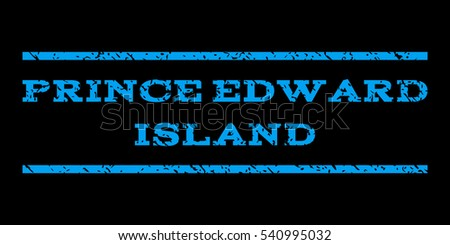 Prince Edward Island watermark stamp. Text caption between horizontal parallel lines with grunge design style. Rubber seal stamp with scratched texture.