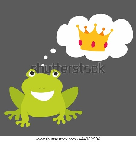 Prince or princess frog dreaming about crown. Illustration isolated on black background