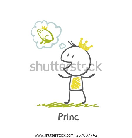 Prince thinks of toad-princess illustration - stock vector