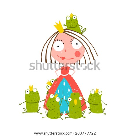 Princess and Many Prince Frogs Portrait Colored Drawing. Colorful fun childish hand drawn illustration for kids fairy tale. - stock vector