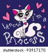 princess cat / T-shirt graphics / cute cartoon characters / cute graphics for kids / Book illustrations - stock