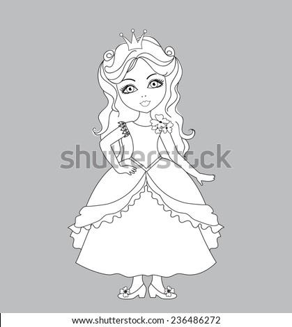 Princess coloring page - stock vector