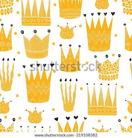 Princess crown. Kids vector seamless pattern. Seamless pattern can be used for wallpaper, pattern fills, web page background, surface textures. - stock vector