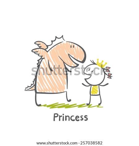 princess dragon illustration - stock vector