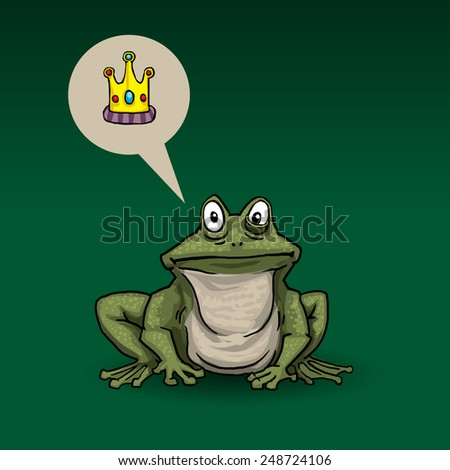 Princess frog, with speech bubble, imagining a crown, vector illustration - stock vector