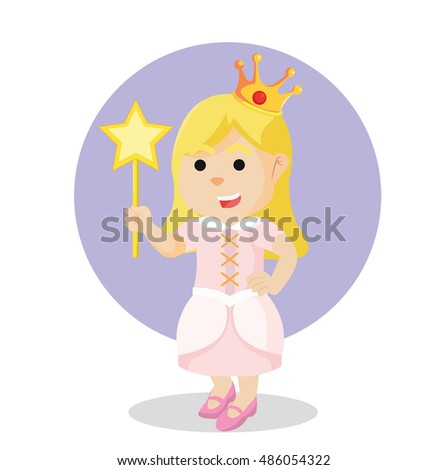 princess holding wand colorful