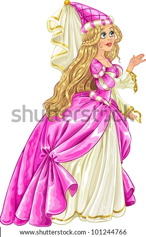 Princess in pink dress say Yes and give her hand - stock vector
