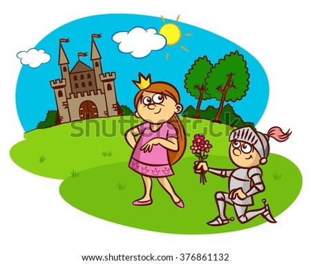 Princess, knight, castle, fairy tale - stock vector