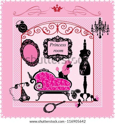 Princess Room - illustration for girls - stock vector