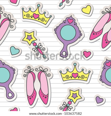 princess seamless pattern with cute stickers, kid background - stock vector