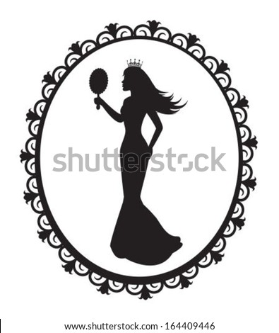 princess silhouette in a long dress and a crown in the patterned frame - stock vector