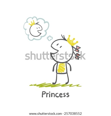 Princess thinks about Prince illustration - stock vector
