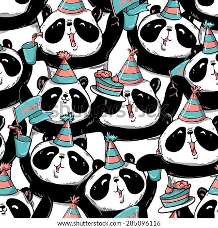 print, birthday, gift wrap, panda, vector illustration - stock vector