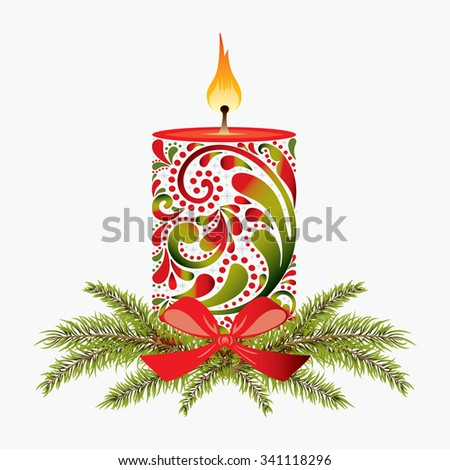 Print. Christmas candle. - stock vector