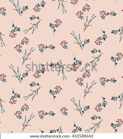 Print long poppy lavender blossom floral seamless pattern  - stock vector