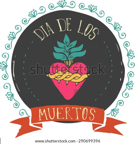 print - mexican heart, day of the dead poster - stock vector