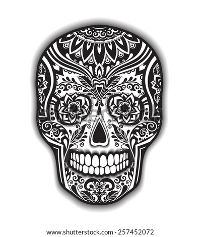 Print mexican traditional scull for T-shirt with floral ornament - stock vector