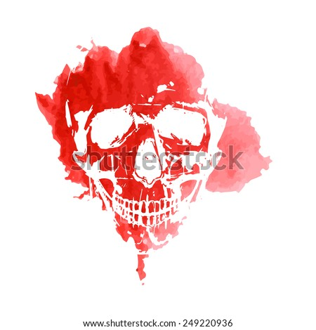 Print of a human skull on a red spot watercolor. Vector. - stock vector