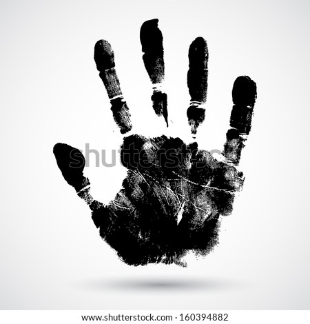 Print of hand of child, cute skin texture pattern,vector grunge illustration - stock vector