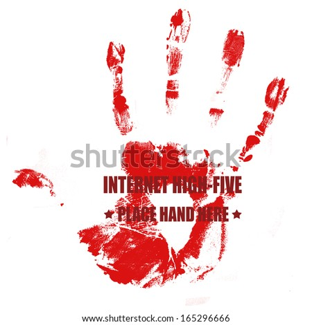 Print of hand on red with text internet high-five written on it, vector illustration - stock vector