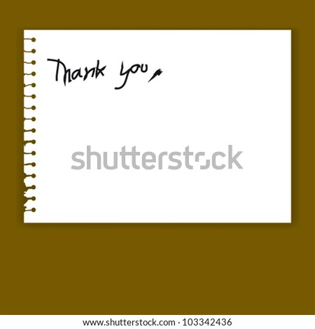 Print..Old Torn Paper Vector with Thank You Word - stock vector