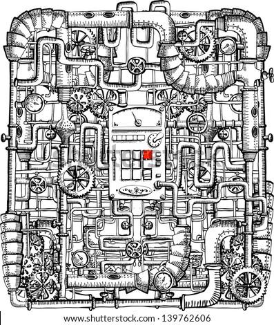 Print on steampunk - stock vector
