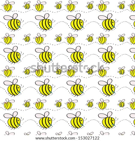 Print.Pattern with bees on white background.Vector