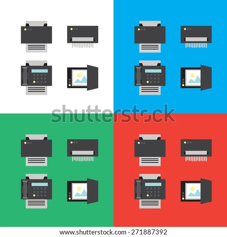 Print, scanner, fax and shredder flat icons or illustrations in vector, eps - stock vector